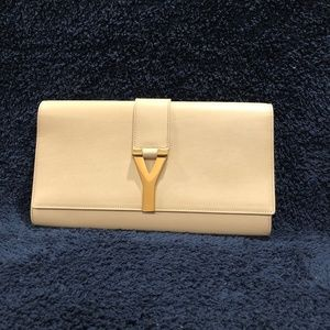 "SAINT LAURENT Chyc ""Y"" Leather Clutch NWT"
